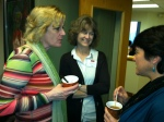 HEFN Director Kathy Sessions with HEFN member Ellen Dorsey at a funders breakfast on Thursday, April 18, 2013.